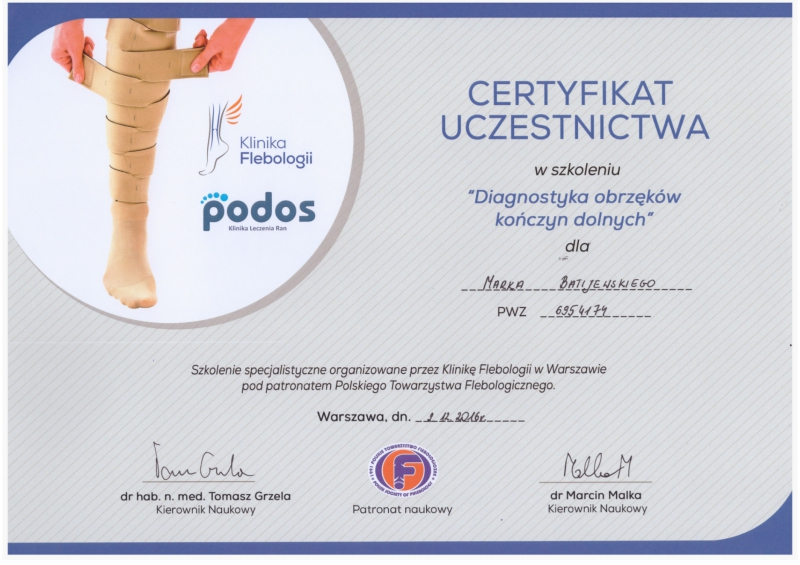 certyfikat diagnostyka żylaków kończyn dolnych
