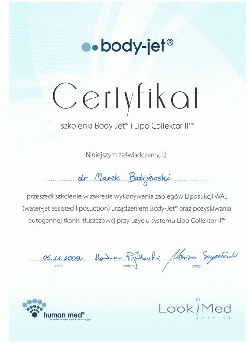 Liposukcja Body Jet certyfikat