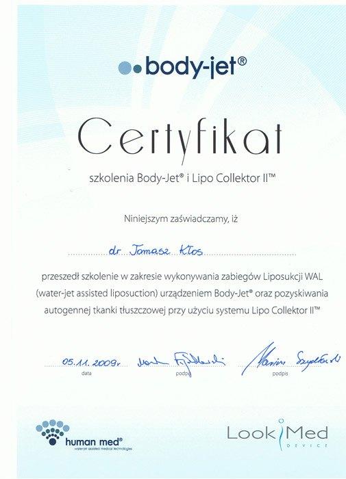 certyfikat liposukcja body jet