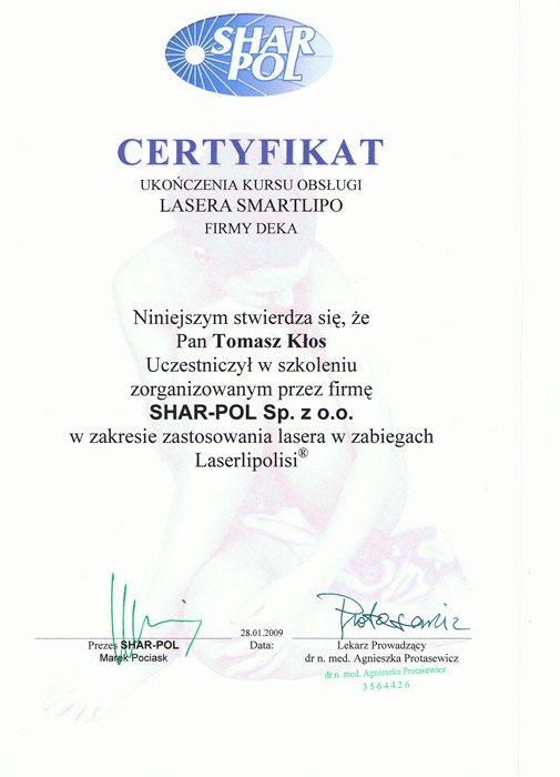 certyfikat liposukcja laserowa