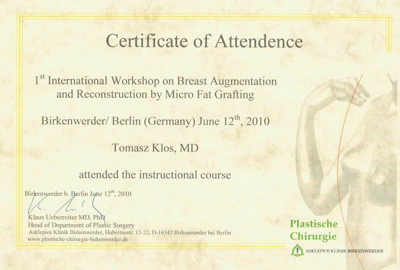 certyfikat przeszczep tluszczu