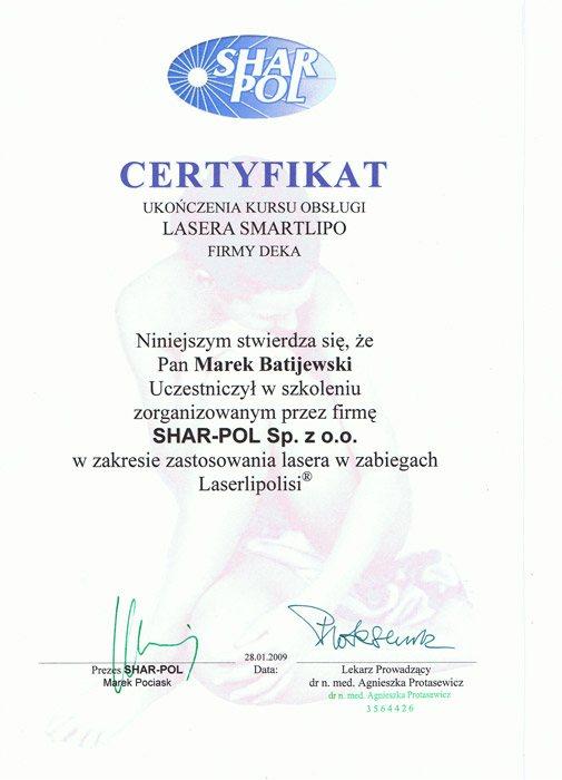 liposukcja laserowa certyfikat
